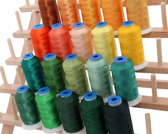 Rayon Machine Embroidery Thread Set 20 Yellowgreen Colors - 1000m Cones - 40wt