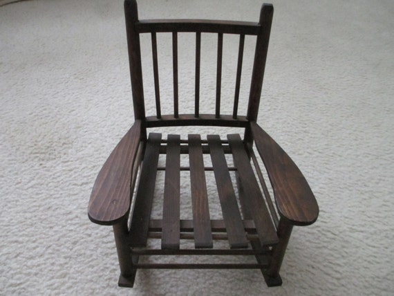 vintage dark stained doll 39 s wood rocking chair with slat seat for