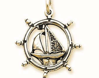 Sailboat In Wheel Charm (QC4965)