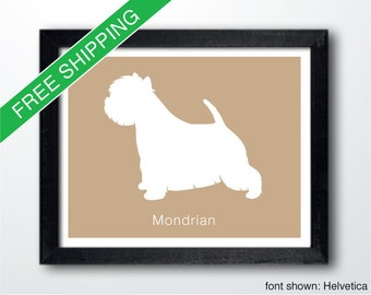 Personalized West Highland White Terrier Silhouette Print with Custom Name - Westie art, Westie portrait, dog silhouette