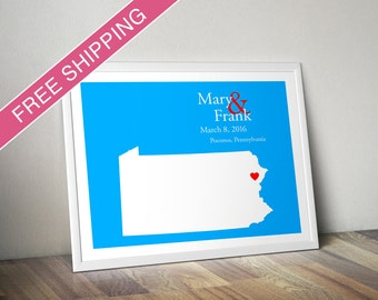 Custom Wedding Gift : Personalized Wedding Location and State Map Print - Pennsylvania - Engagement Gift, Wedding Guest Book