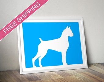 Boxer Print (Cropped Ears and Docked) -  Boxer Silhouette, dog portrait, modern dog home decor