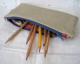 Handmade Recycled Sand Corduroy Pouch