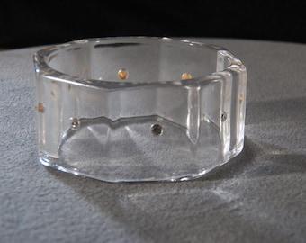 Vintage Lucite & Rhinestones Ultra Sleek Wide Bangle Style Bracelet, A Marvelous Design!~~ **RL