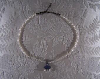 Vintage Faux Pearl Lapis rhinestone Unique bib Necklace W    **RL