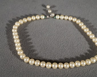 Vintage Traditional Style Faux Pearl Glass Rhinestone Knotted Necklace Jewelry    K#53