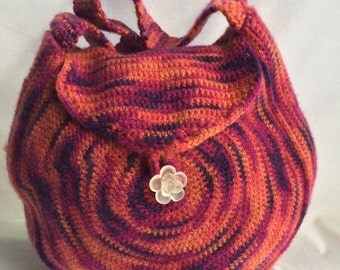 Beautiful Sunset Swirl Crocheted Felted Shoulder Bag with Flap and Decorative Clear Rose Button
