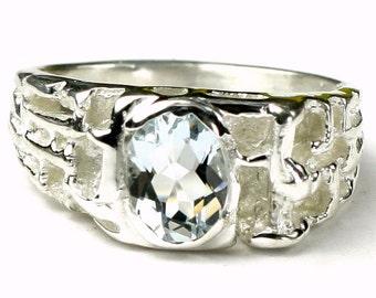 Aquamarine, 925 Sterling Silver Men's Ring, SR197