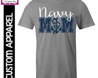 CUSTOM APPAREL: Custom Navy MOM T-Shirt with Glitter