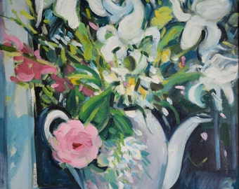 Retro Painting, Impressionist Painting, Floral Painting, Still Life Painting, Pink Flowers