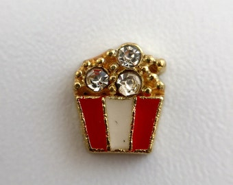 Store Closing Sale - Popcorn with CZ Gold Metal Floating Charm for Glass Lockets 405