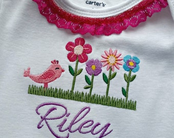 Flowers & Bird, Personalized Onesie, Flower Embroidery, Baby Shower, Newborn, Custom Onesie