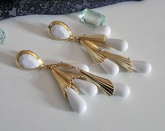 Vintage earrings, earrings, white, 60, 70 years