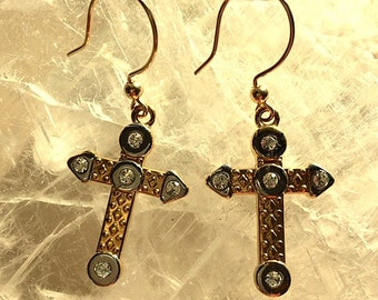 Gold and Silver CZ Patterned Cross Dangle Earrings