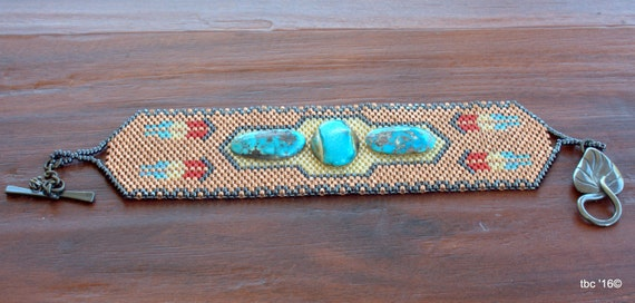 Beadwork Beaded Bracelet - One of a Kind - Bead Woven Cuff -Turquoise Stone - Peyote Beadwork Bracelet .OOAK - Southwest Design