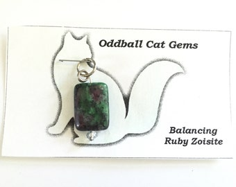 Gemstone Collar Charms, Ruby Zoisite Crystal, Cat Collar Charms, Dog Collar Charms, Collar Charms, Healing Gemstone Charms, Reiki Infused