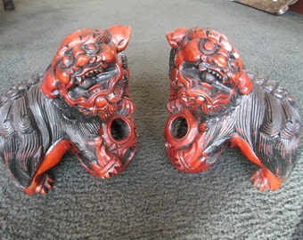 1940's chinese carved wood Foo dogs