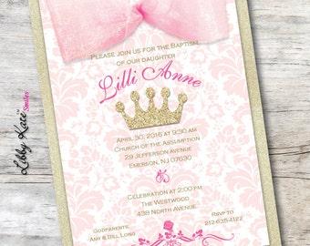 Baptism Custom Printed Invitation Pink and Gold Baptism Invitation Ribbon