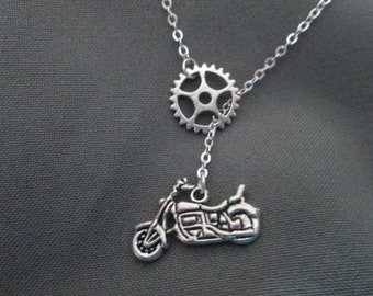 Sprocket Motorcycle Necklace - Lariat Style