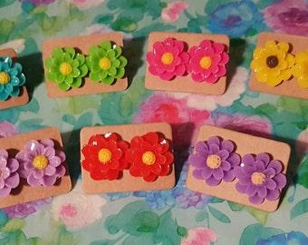 Colorful Flower Earrings, Floral Earrings, Acrylic Flower Earrings, Post Earrings