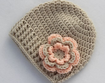Baby girl hat, crochet baby hat, linen and apricot, girl winter hat - MADE TO ORDER