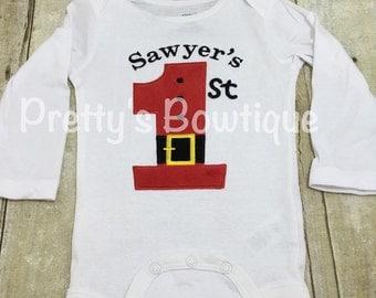 1st Christmas Personalized shirt or bodysuit Babies 1st Christmas Shirt Santa