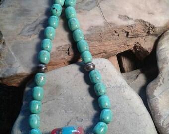 Designer Artisan Southwestern Glass Lampwork Bead Turquoise Sterling Silver Necklace