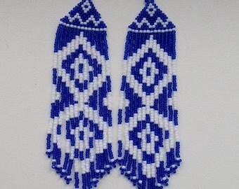 Native  American Beaded Earrings  Inspired. Royal Blue Earrings. Long Earrings.  Beadwork.