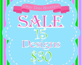 SALE! 15 designs for 30 Machine Embroidery Designs