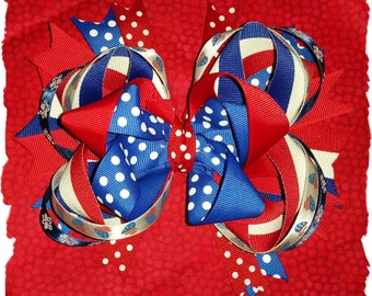 One Red, White and Blue 6in Boutique Hair bow