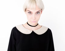 Black Dress with Peter Pan Collar,Vintage 1960s Thick Fabric, White Peter Pan Collar, White cuff, Round White Collar, Mod Dress Round Collar