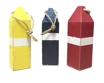 """Wooden Buoy, Vintage Style Wooden Fishing Buoy Decoration  12"""" Tall Nautical Handmade Choose Colors"""