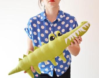 Big decorative crocodile. decorative croco pillow made with green linen and felt .