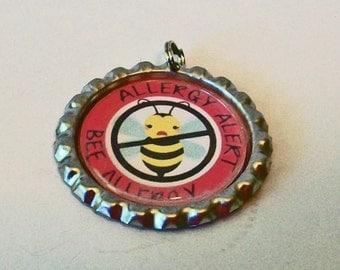 Unique Allergy Alert Bee Allergy Flattened Bottlecap Pendant Necklace