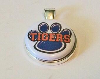 Unique Blue and Orange Tigers Paw Print Round Silver Pendant