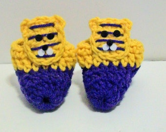 Adorable Purple and Gold Tigers Hand Crocheted Baby Bootie Shoes Great Photo Prop Matching Hat & Bib Also Available