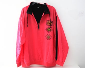 Vintage 80s neon jacket windbreaker Gotcha pink red orange pullover 90s