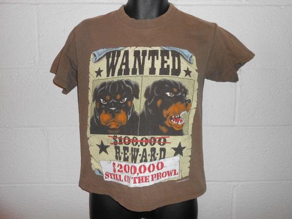 vintage 90s dawg pound wanted reward rottweiler t shirt sz l