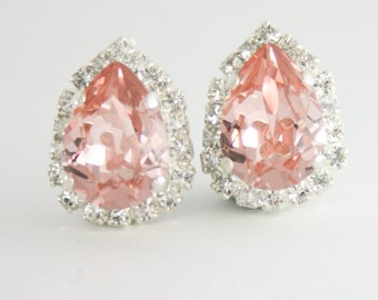 blush crystal earrings,blush earrings,swarovski blush earrings,silver blush earrings,blush teardrop earrings,teardrop earrings,swarovski
