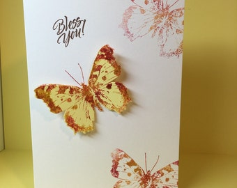 Christian card, Christian encouragement card, Religious encouragement card, Get well, Prayers, Bless you card, Butterfly, Stamped, 3D