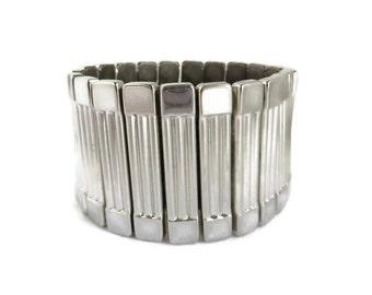 Vintage Expansion Bracelet | Chunky Silver Tone Bracelet - Ribbed Wide Band Cuff