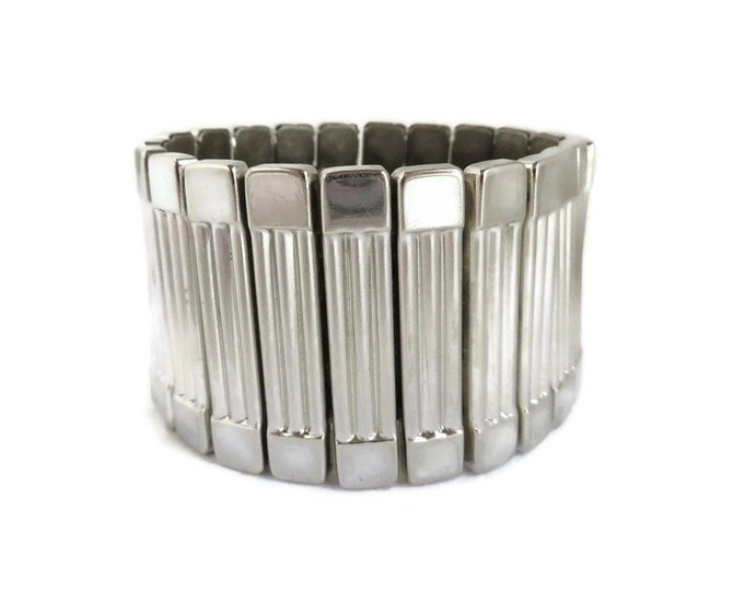 Vintage Expansion Bracelet | Chunky Silver Tone Bracelet - Ribbed Wide Band Cuff
