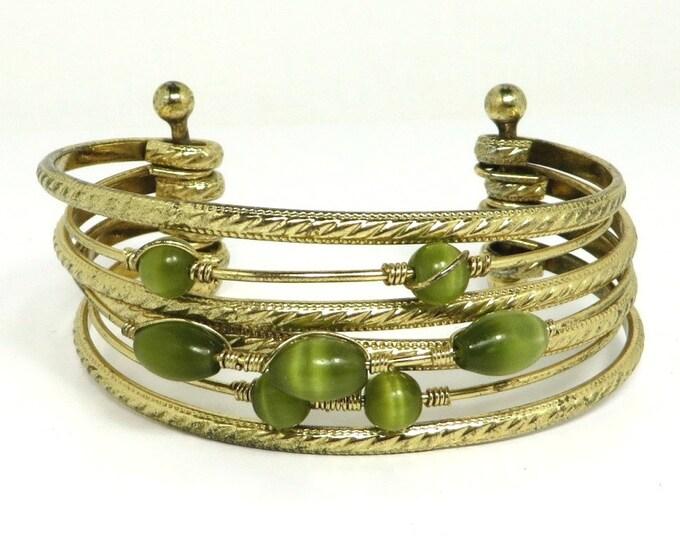 Tiger Eye Bracelet, Vintage Multistrand Bracelet, Green Tiger Eye Cuff, Gold Tone Cuff Bracelet, Free Shipping