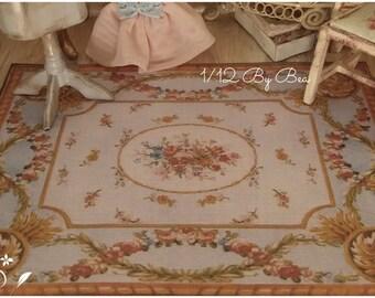1/12 rug aubusson 18x13cm 7.1x5.1 inch dollshouse miniature hand made victorian style