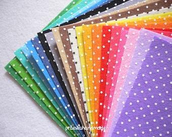 20 mixed colour 6x6 or 12x12 inches polka dot printed felt sheet.