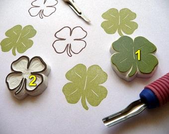Shamrock Four Leaf Clover, clover leaf stamp. shamrock leaf, hand carved. St Patrick's Day