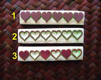 Heart Stamps. Valentine Stamp, Love Stamp, Hand Carved Rubber Stamps, Card Making, Scrapbooking