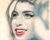 One-off, hand drawn portrait of Amy Winehouse, in charcoal and pastel on calico