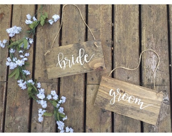 bride and groom chair signs | rustic chair signs | wedding chair signs