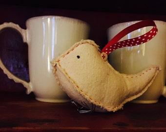 Primitive Hand Sewn Bird Ornament - set of 2